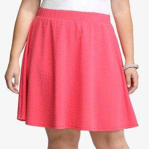 Torrid Textured Skater Skirt Rouge Red Floral Sz 2